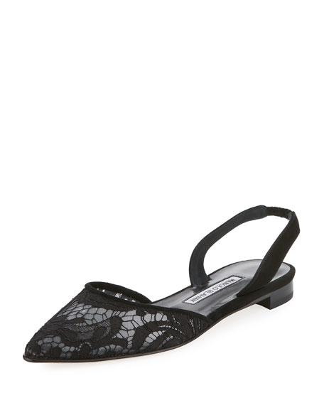 Carolyne Lace Slingback Flat, Black