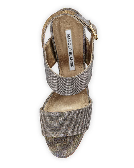Khans Metallic Two-Band Sandal, Bronze