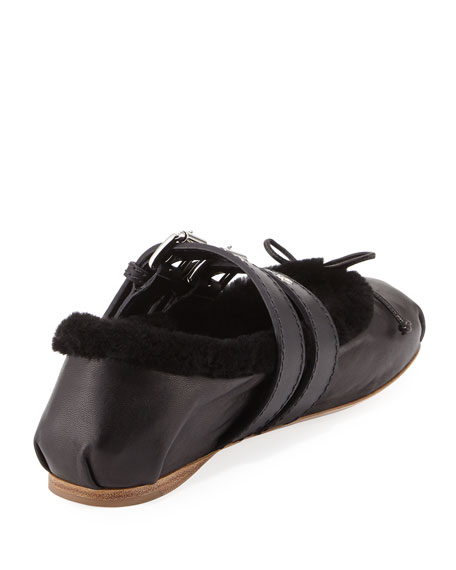 Shearling Fur Belted Ballerina Flat