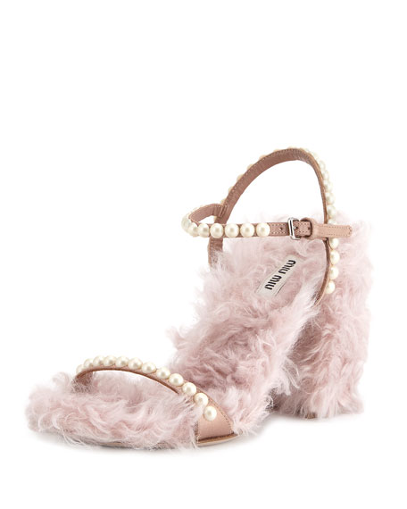 Furry Pearlescent Sandal, Neutral
