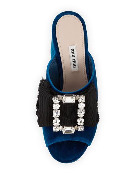 Crystal-Buckle Velvet Mule Sandal, Cobalt