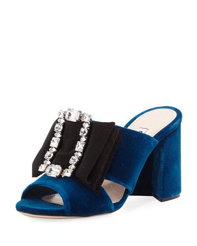 a38402ba831 Miu Miu Crystal-Buckle Velvet Mule Sandal