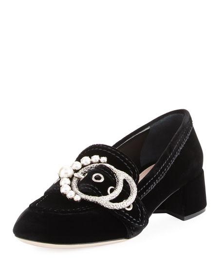 Miu Miu Embellished-Buckle Patent Loafer Pump, Black