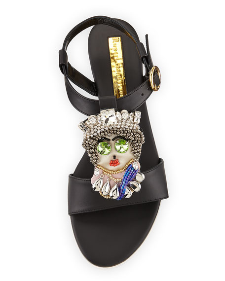 Her Majesty Leather Sandal, Black