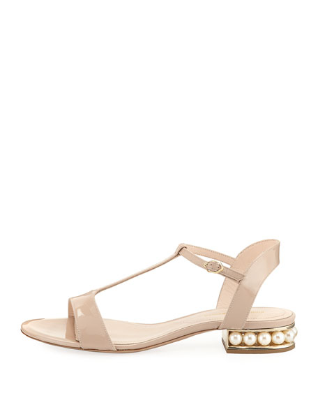 Casati Patent T-Bar Sandal, Beige