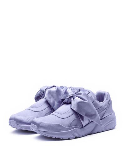 Trinomic Bow Satin Platform Sneaker, Purple