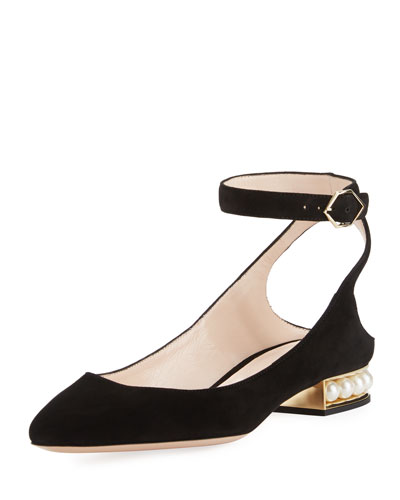 Lola Suede Ankle-Wrap Flat