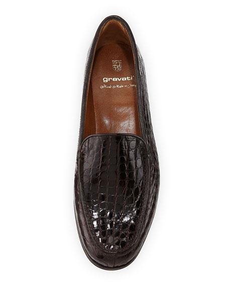 Crocodile Stack-Heel Loafer