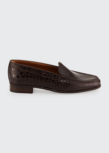 Crocodile Stack-Heel Loafer