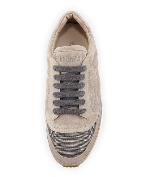 Suede Contour Running Sneaker, Gray