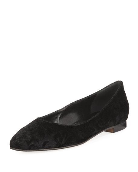 Evangelis Printed Velvet Flat, Black