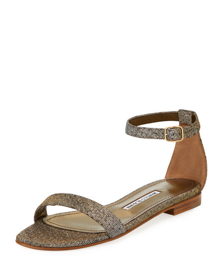 MANOLO BLAHNIK Chafla Textured-Weave Ankle-Strap Sandals, Bronze