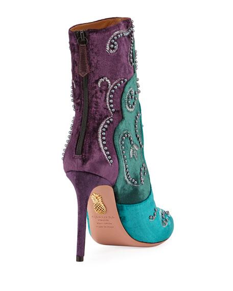 Tricolor Velvet Stud Booties