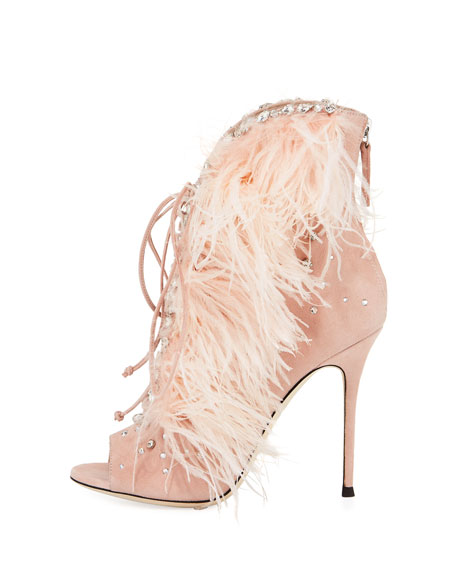 Giuseppe Zanotti Jeweled Feather Suede Lace-Up Bootie NPFjXyYl