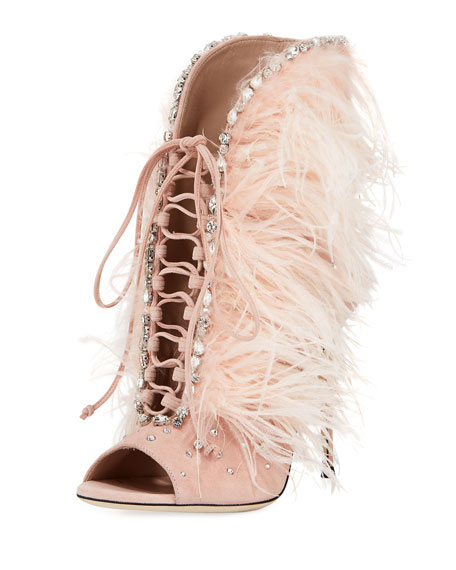 5b4b818eef6df Jeweled Feather Suede Lace-Up Booties