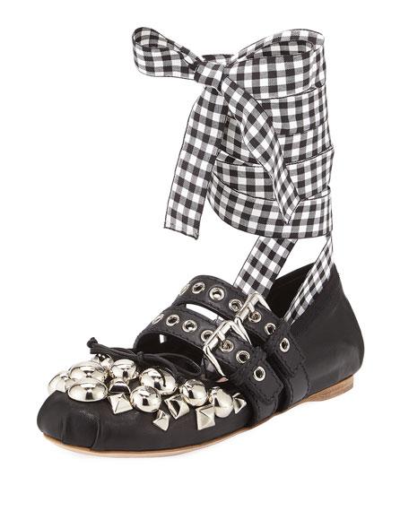 c26ef47c189 Miu Miu Studded Napa Ankle-Wrap Ballet Flats