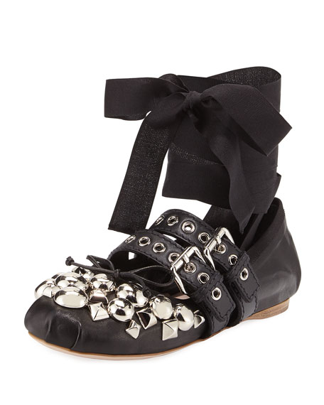 6863aab0989e Miu Miu Studded Napa Ankle-Wrap Ballet Flats