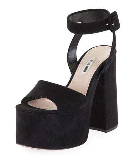 Suede Platform Block-Heel Sandals, Black