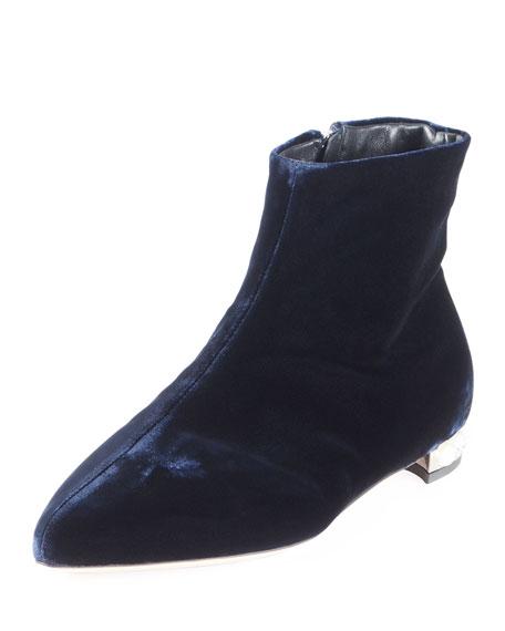 Velvet Pearly-Heel Bootie, Blue