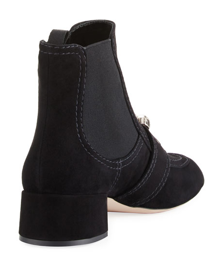 Pearly Suede Block-Heel Chelsea Boot, Black
