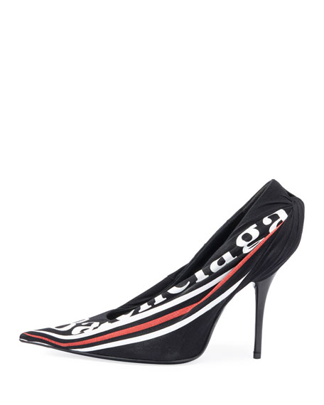 Ruched Logo Jersey Pump
