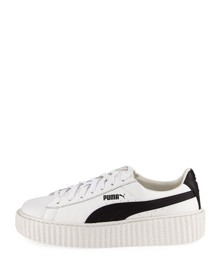 Leather Creeper Sneakers, White/Black
