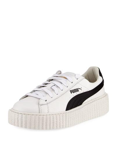 Leather Creeper Sneaker, White/Black