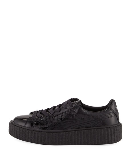 Creeper Cracked Patent Leather Sneaker, Black