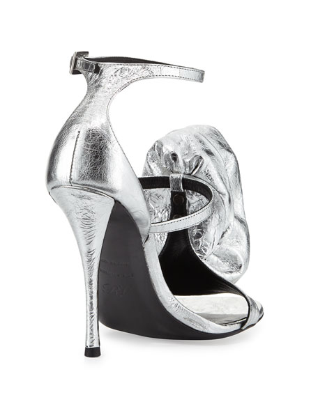Rose and Roll Leather 100mm Sandal, Silver