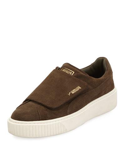 Suede Grip-Strap Platform Sneaker