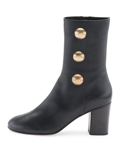 Orlando Leather Button-Detail Bootie, Black