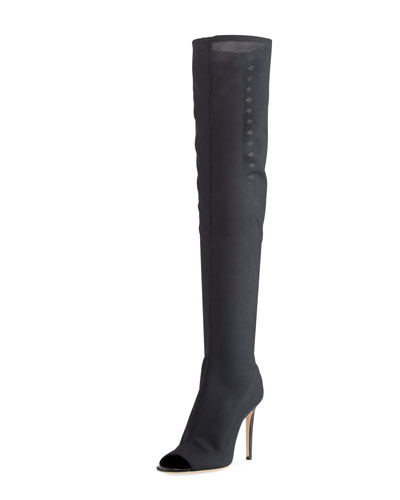Desai Peep-Toe Mesh Knee Boot