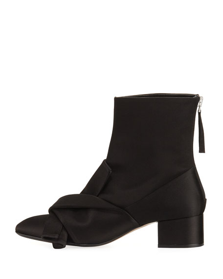 Satin Bow Block-Heel Boots, Black