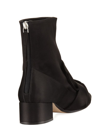 Satin Bow Block-Heel Boot, Black