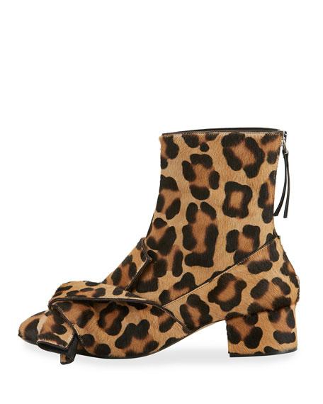 Leopard-Print Calf Hair Bow Boots