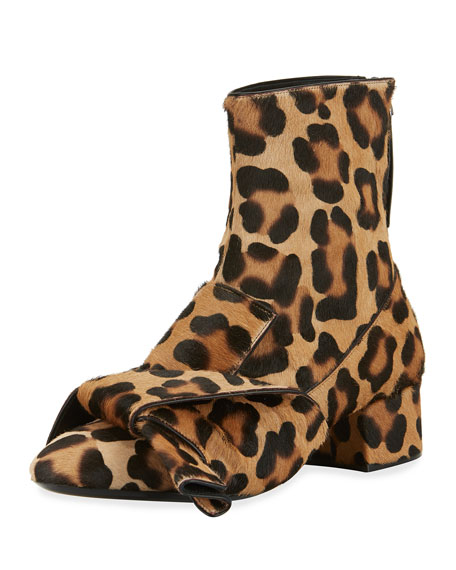 Image 1 of 1: Leopard-Print Calf Hair Bow Boots