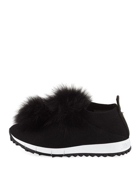 0a5c52c2b510 Jimmy Choo Norway Trainer Sneaker with Fur Pompom