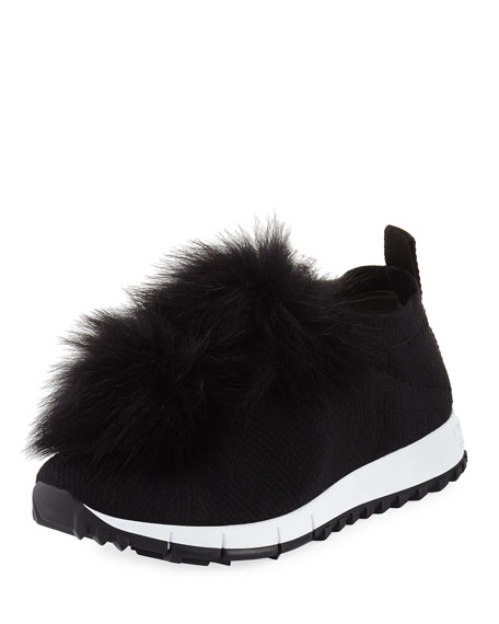 Jimmy Choo Norway Trainer Sneaker with Fur Pompom
