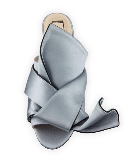 Flat Satin Bow Slide Sandal