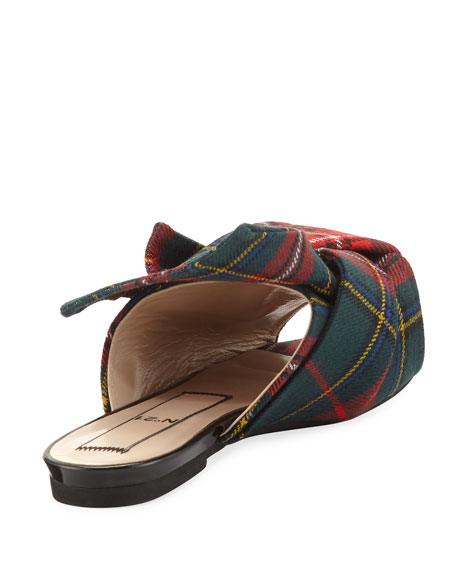 Plaid Wool Flat Mule Sandal, Multi