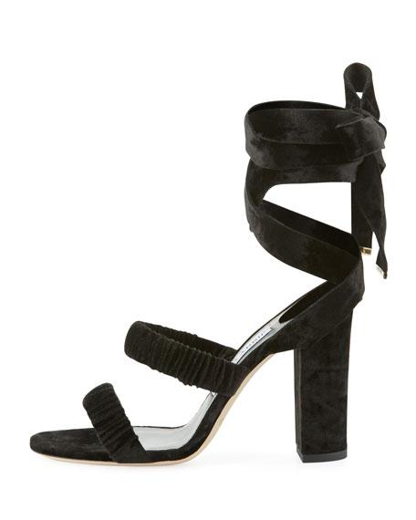Marcella Velvet Ankle-Wrap Sandal
