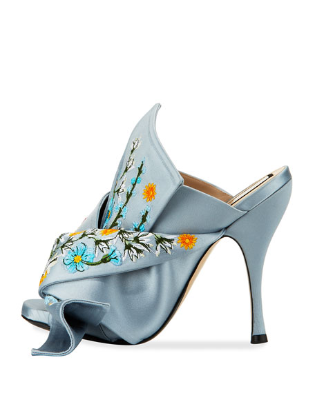 Embroidered Satin Bow Mule Sandals, Blue