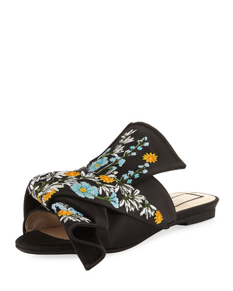 Embroidered Satin Bow Mule Flat, Black