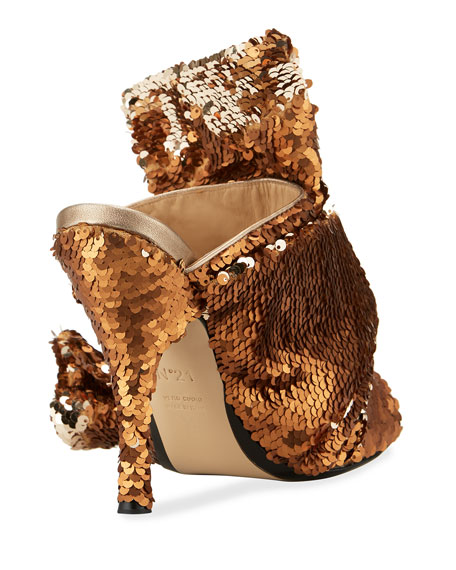 Sequined Bow Mule Sandal