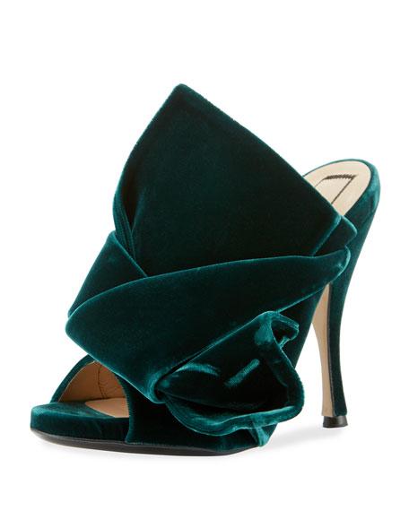 Pleated Velvet Mule Sandal
