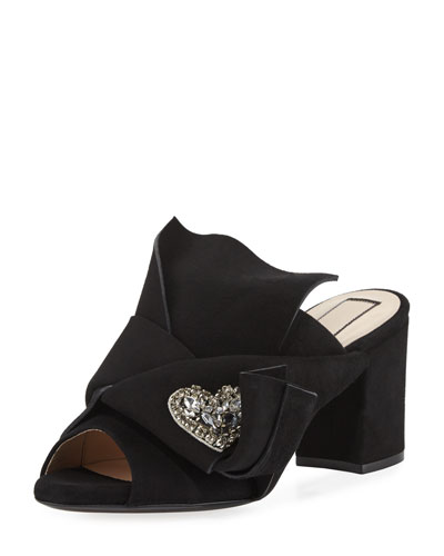 Velvet Block-Heel Mule Sandal