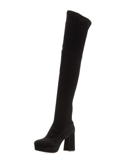 8e8e55aefde61 Miu Miu Platform Velvet Over-the-Knee Boot