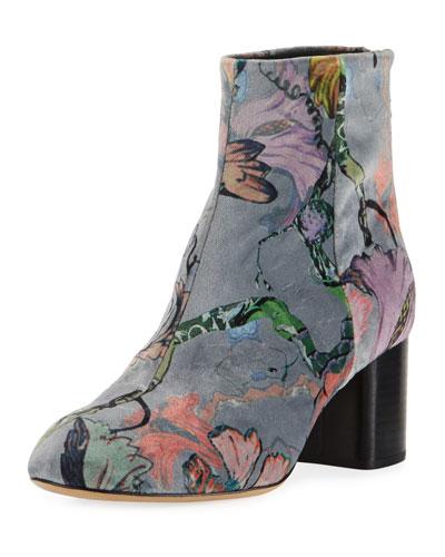 Drea Floral Velvet Ankle Boot