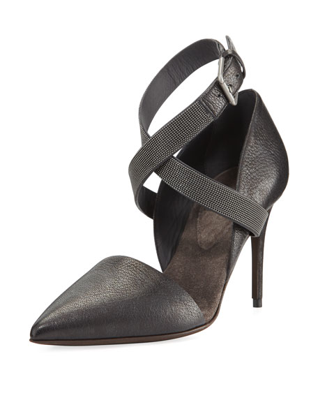 Brunello Cucinelli 85mm Leather Pump with Monili Ankle