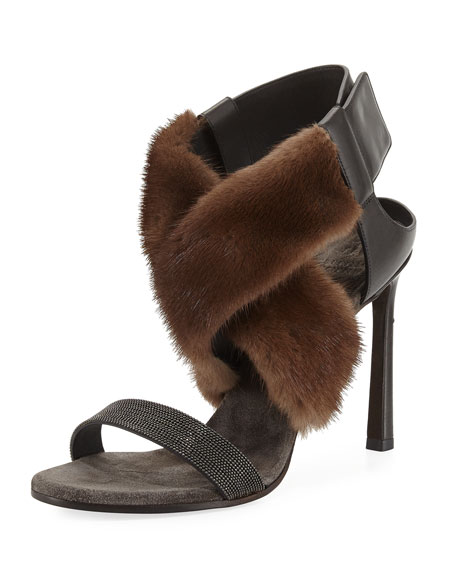 Mink Fur & Monili 100mm Sandal